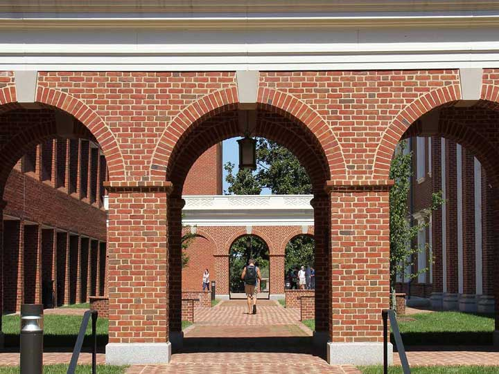 An arched walkway at the University of Virginia's Curry School of Education