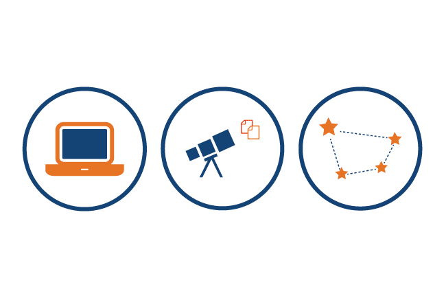 Icons of laptop, telescope viewing documents, and connected constellation