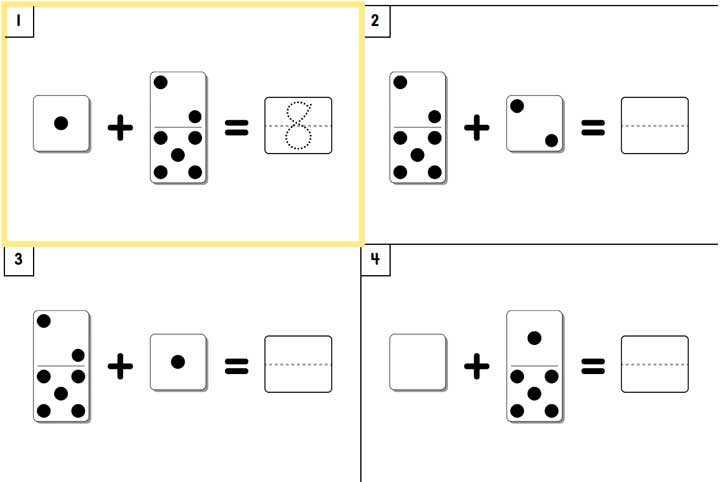 math worksheet with dot and number problems.