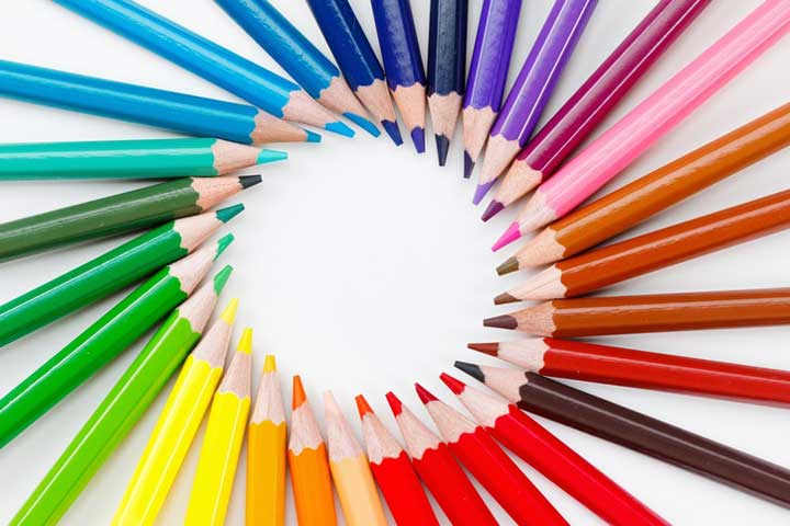 Set of colored pencils for drawing closeup