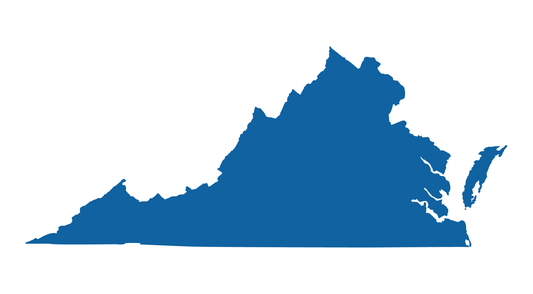 Outline of the state of Virginia colored blue